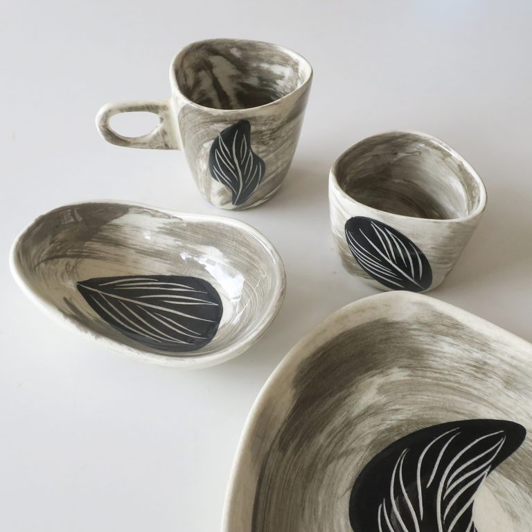 """etruscan"" cup, tumbler & bowls with leaf design"