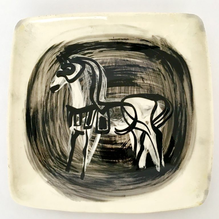 """etruscan"" platter with horse"