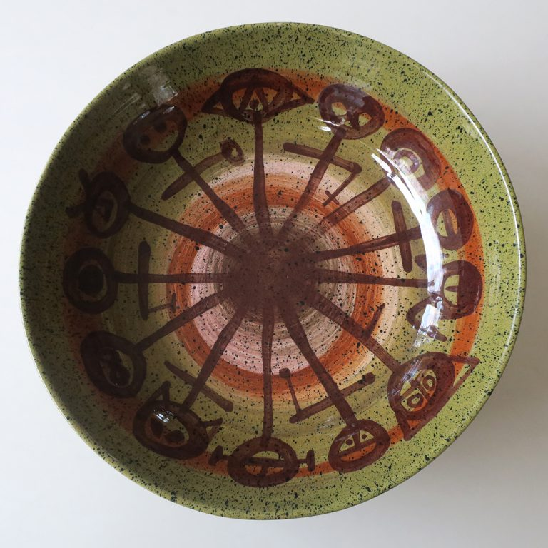 large green & brown salad bowl