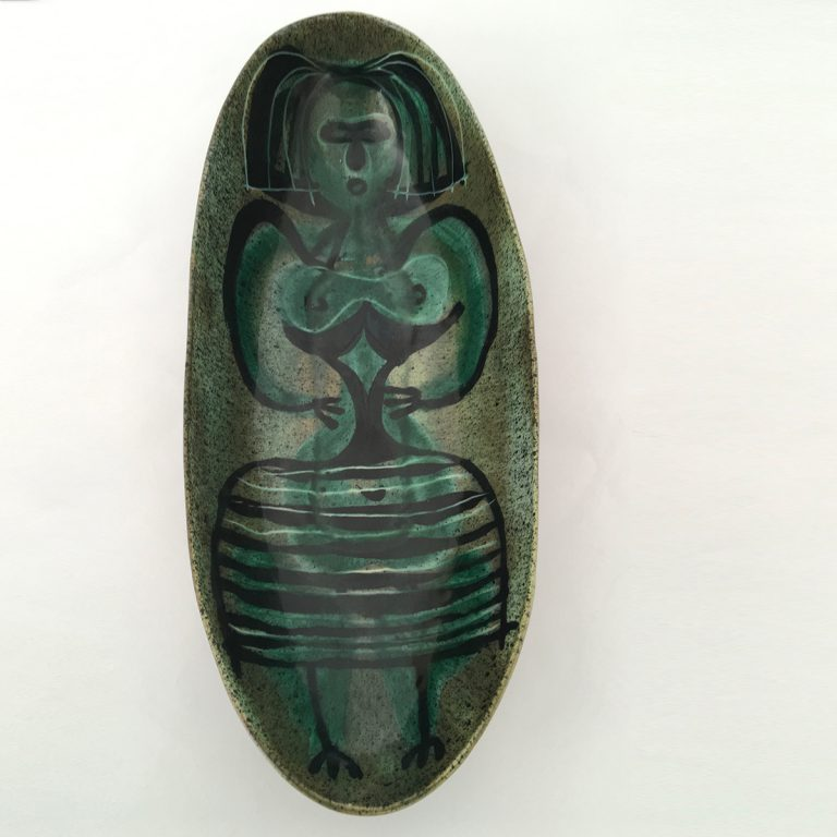 large green dish with female figure