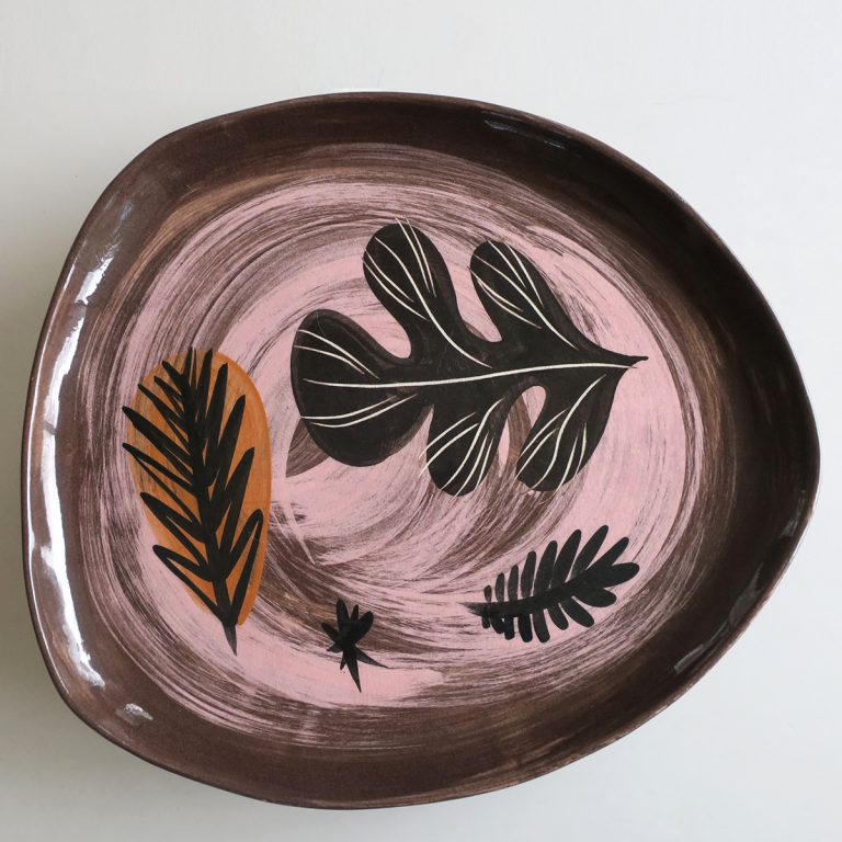 """raisin"" platter with leaf design"