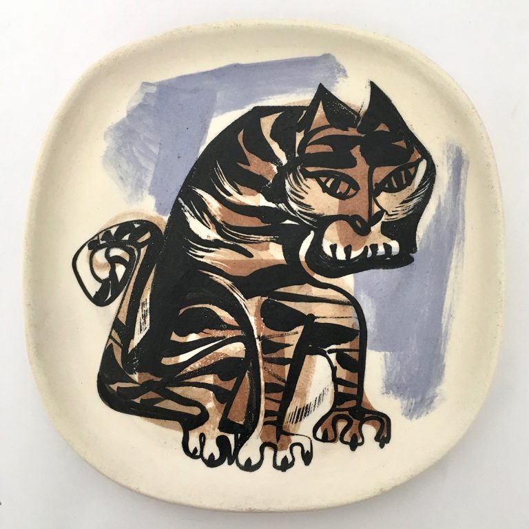 matte plate with tiger