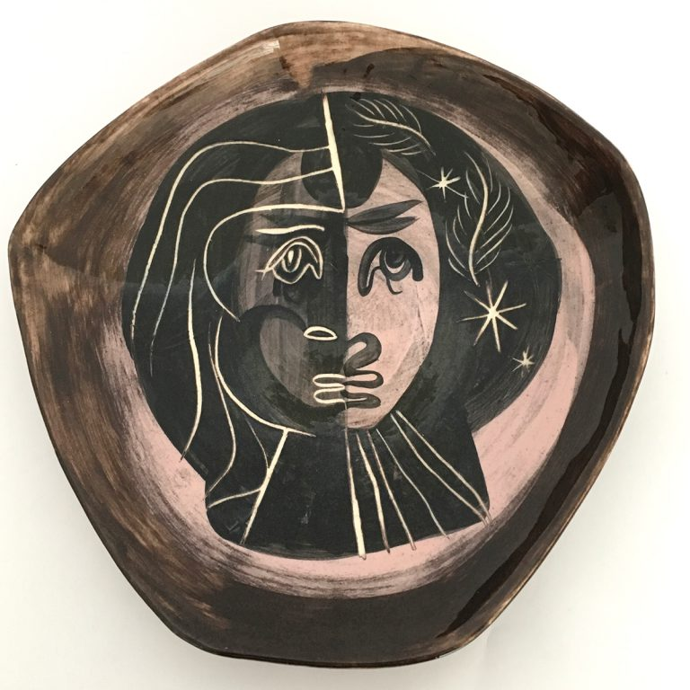 dish with female portrait