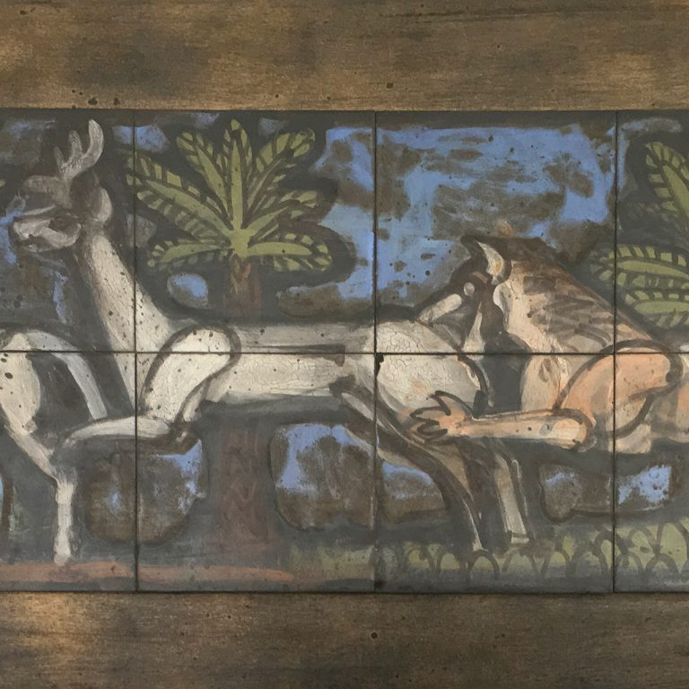 tile mural with stag, doe & lion (detail)