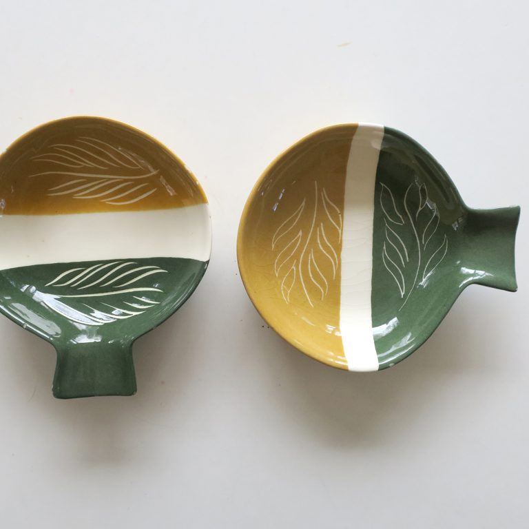 """tri color"" small fantail bowls"